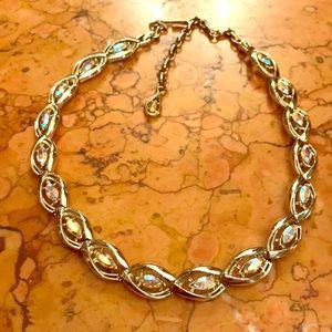 Coro Aurora Borealis stone gold tone necklace